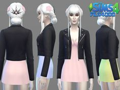 Frankenmesh 01: Short Dress + Leather Jacket Found in TSR Category 'Sims 4 Female Everyday'