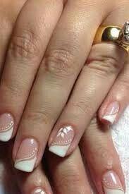 French nails with print, so classic - LadyStyle Bridal Nails, Wedding Nails, Wedding Pedicure, Bling Wedding, Boho Wedding, Fancy Nails, Trendy Nails, French Tip Nails, Creative Nails