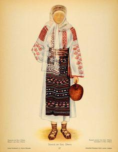 1937 Costume Peasant Woman Oltenia Romania Prints SET - ORIGINAL COS5 #Vintage Traditional Dresses, Traditional Art, Folk Costume, Costumes, Ethnic Diversity, Fashion D, Color Grading, Free Black, Textile Patterns