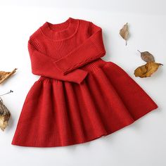 """Girls Knitted Dress Long Sleeve Winter Girls Knitted Dress Long Sleeve Winter Dress """"A fashionable upgrade to your little fashionista's wardrobe. Girls Knitted Dress, Girls Sweater Dress, Knit Sweater Dress, Toddler Sweater Dress, Knitted Baby, Baby Outfits Newborn, Baby Boy Outfits, Kids Outfits, Boy Newborn"""