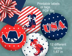 #Printable #round #label for #American #Patriotic #holidays - by ArigigiPixel. Great for #4th_of_July, Memorial Day and much more...  ► #Stars and #stripes party favor labels with cowboy boots, hats and word USA. #etsycij17
