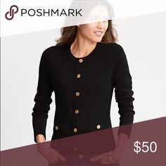 Banana Republic Gold Button Sweater Jacket Like new condition. Long sleeve, black, gold buttons, buttoned patch pockets. Hits at the hip. Cotton/nylon/spandex. Hand wash cold or dry clean. Banana Republic Sweaters Cardigans