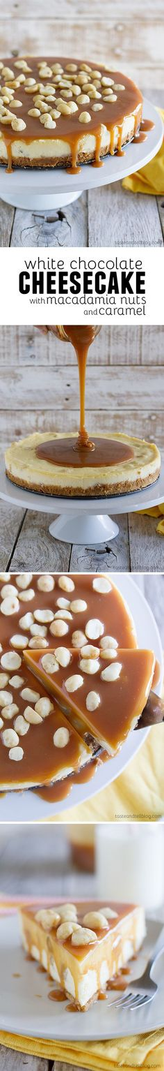 Macadamia nuts make everything better! What better way to incorporate this delicious, buttery nut than to use it in a scrumptious cheesecake? This recipe for White Chocolate Cheesecake with Macadamia Nuts and Caramel will satisfy any sweet tooth! #thinkfisher #freshtwist #cheesecake