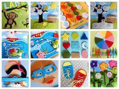 Quiet book - more, lodka, hlava, rocni obdobi, strom, kvetiny, louka, mic, barvy, boty, tvary, opicka