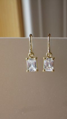 Simple Crystal Rectangle Crystal Drop by 310jewelry on Etsy, $25.00