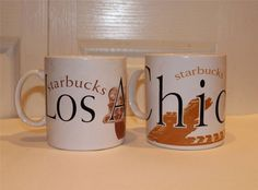 2 Starbucks COFFEE MUG CUP LOS ANGELES & CHICAGO OVER SIZED 1994 #Starbucks
