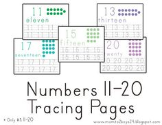 Number's 11 - 20 Tracing Papers