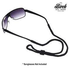 BIRCH's Black Sports Safety Glasses Sunglasses Safety Neck Holder Retainer Strap #Birch