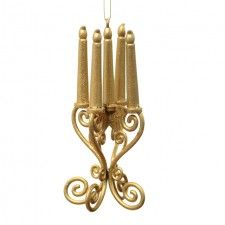 Gold Hanging Candelabra Decoration 13 cm