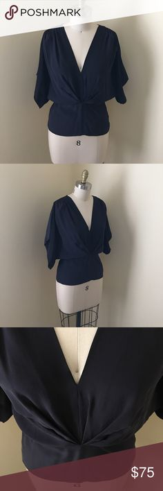 Kimono Style Dolman Top Maeve silk Dolman Blouse. Navy blue. Price is firm! I will keep if doesn't sell. Such a flattering Top. Purchased new from Anthro but never worn! Anthropologie Tops