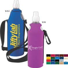 One liter Bottle insulator made of high quality neoprene (wetsuit rubber material) with adjustable shoulder strap (no belt clip). Empty, blank, water bottles can be included.