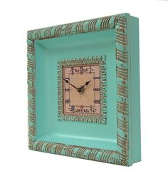 Shabby Chic Wall Clock Ornate Frame Aqua Turquoise $39.00