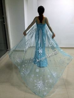 J767  [adult]  Movies Frozen Snow Queen Elsa Cosplay Costume Deluxe Dress with cloak teenager and adult - Thumbnail 3