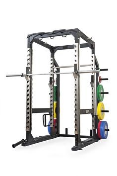 ESP Fitness Pro Power Rack with Integrated Accessories - The Pro Power Rack provides unrivalled functionality, robustness and aesthetics. Constructed from heavy duty box section steel and powder coated in a scratch resistant leatherette matt black finish, the 4mm heavy duty stainless steel upright channels provide support to the light weight (3kg) sit-smooth bar hooks with UHMW Nylon inserts and an unrivalled lifetime year warranty Home Gym Equipment, Training Equipment, No Equipment Workout, Fitness Equipment, Sports Equipment, Home Gym Garage, Gym Room At Home, Power Rack, Resistance Band Training