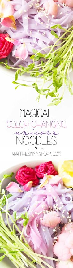 Magical Color Changing Unicorn Noodles — The Skinny Fork Colored Noodles, Colored Rice, Veggie Recipes, Healthy Recipes, Pasta Recipes, Healthy Food, Garlic Butter Noodles, Unicorn Foods, Vegetarian Cabbage