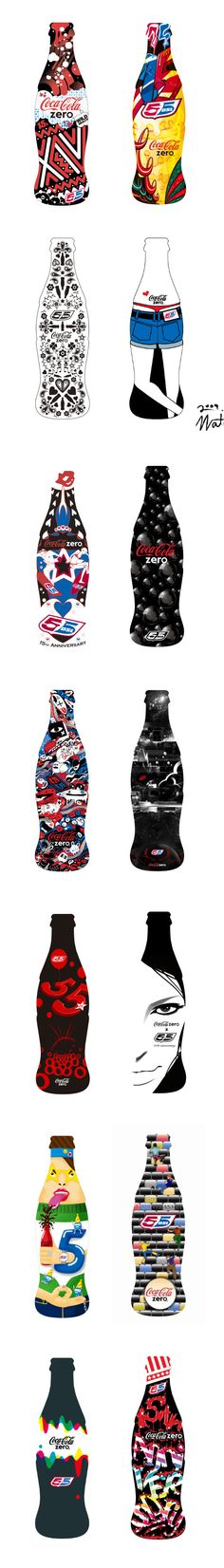 Diesel's 55DSL and Coca-Cola Zero encouraged Japanese designers to create new looks for the limited edition of the contour bottles, dedicated to the 15 Anniversary of the brand PD