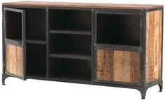 """MANCHESTER TV STAND get the industrial look with wood furniture Item #19179 Two wood doors flank three open shelves with cord management, offering plenty of convenient storage. Crafted of mango wood and metal in a rustic iron finish, this piece of media furniture has enduring style. Two wood doors with acrylic glass. Three open shelves with cord management. 32""""H x 60""""W x 17""""D.  Size 32""""Hx60""""Wx17""""D Color NATURAL Price $674.00"""