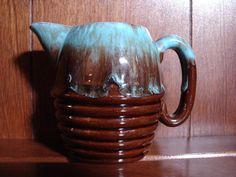 Rare Turquoise BLUE DRIPWARE, Creamer, Stoneware, Hand Painted, Pottery, Elevated Ribs, Oval Handle, Vintage Cream Pitcher by BackStageVintageShop on Etsy
