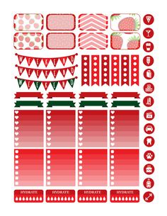 Planner & Journaling Printables ❤ Strawberry Planner Stickers Printable Erin by PrintThemAllStudio
