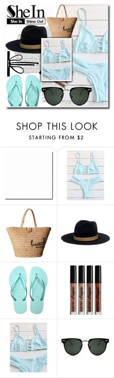 """""""Blue Bikini Set from Shein"""" by emmy-124fashions ❤ liked on Polyvore featuring Hat Attack, Janessa Leone, Havaianas, NYX, Spitfire and Joomi Lim"""