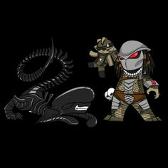 Lil Alien Vs Predator - by Rob Acosta  Website || Tumblr  T-shirt for $10 (USD) @Graphic Design Lab (3 days only)