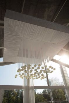 Roses Hanging from Sheer Ribbons | Photography: Ira Lippke Studios. Read More:  http://www.insideweddings.com/weddings/contemporary-backyard-white-wedding-under-clear-tent-in-chicago/857/