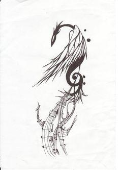 Gooooorgeous phoenix w/ clef 'n' chords tail tattoo ! By Kythought (Deviantart)