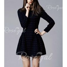 Vintage Round Collar Polka Dot Print Long Sleeves Worsted Women's Dress