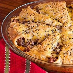 Italian Crescent Casserole! On the best list! 1st: Used seasoned canned tomatoes, 2nd: used can tom, basil, oregano, s, garlic, dried onion, spaghetti sauce, touch of balsamic vinegar, cook 15min or less. Reversed direction of crescents.  ----JLV