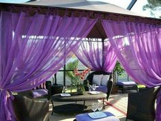 """Outdoor Gazebo Patio Drapes Purple Berry """"Sheer"""" Tie Tops Includes Panels Wide X Each. But should I use for pergola or would they look better in master bath? Bright Curtains, Purple Curtains, Outdoor Gazebos, Patio Gazebo, Purple Home, Sheer Drapes, Drapes Curtains, Porches, Outdoor Curtains"""