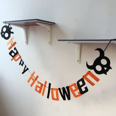 Creative Cute Fashion Cartoon Skull Happy halloween Letters Flags Party Supplies Happy Halloween Party Decoration BJ78