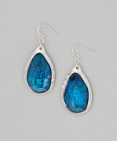Another great find on #zulily! Silver & Blue Abalone Lucite Teardrop Earrings by Majestic #zulilyfinds