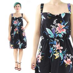 New to honeymoonmuse on Etsy: 80s Floral Cotton Sun Dress Navy Floral Dress Sleeveless Summer Cotton Dress Knotted Bow Elastic Waist Dress Hibiscus Floral Dress (XS/S) (42.00 CAD)