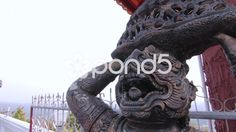 Buddhist Demon Statue Temple Entrance Protection Religious Monument Close Up - Stock Footage | by RyanJonesFilms