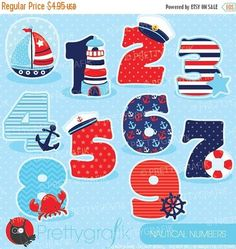 BUY 20 GET 10 OFF Nautical numbers clipart clipart commercial use vector graphics digital clip art digital images - by Prettygrafikdesign Sailor Party, Image Paper, Class Decoration, Deco Table, Vector Graphics, Vector Clipart, Nautical Theme, Diy And Crafts, Craft Projects