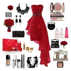 """""""Red and Black Gala"""" by teresalcaine on Polyvore featuring Schutz, Deux Lux, Accessorize, Jorge Adeler, Charlotte Tilbury, Elizabeth Arden, Bella Schneider Beauty, Crabtree & Evelyn, Baylis & Harding and Marc Jacobs"""