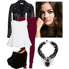 A fashion look from June 2013 featuring River Island tops, Yves Saint Laurent jackets and Vero Moda leggings. Browse and shop related looks.