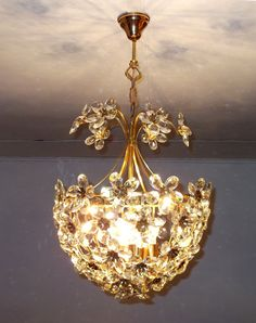 Antique Ceiling Light Vintage French Brass Art by LoveofBlonde