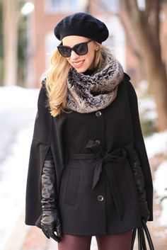 Cozy Details: black button cape with tie waist, Piperlime gray faux fur scarf, black cashmere beret, Chanel cateye oversized sunglasses with quilted leather trim, elbow length leather gloves, burgundy leather skinny jeans, how to style a cape for winter