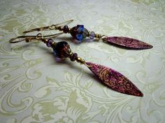 Painted Copper Earrings by qisma @ Etsy, Purple, Blue, Solid Copper, Czech beads