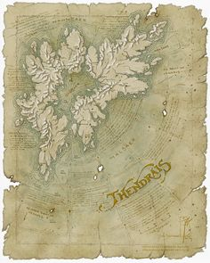 Thendrais map by SirInkman - I like how he's drawn the mountains