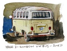 "Miniature by James Gurney - VW Bus. "" This magnificent old Volkswagen bus was parked in my mechanic's lot.   I couldn't resist doing a miniature watercolor portrait of it while I waited around for my car inspection..."""