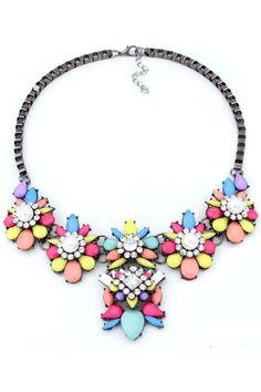 Multi-Color Faux Stone Statement Necklace - Oasap