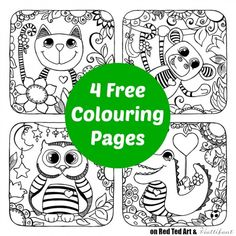 Cute Animal Colouring Pages - these 4 colouring pages are totally free to print. They are perfect for simply colouring, creating creating cards or DIY sun catchers