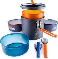 GSI Outdoors Pinnacle Dualist Ultralight Cookset $64.95. Pretty sweet little compact set that pack into itself, awesome for backpacking.