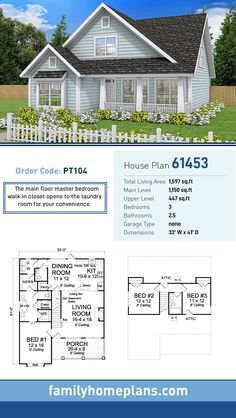 Cottage House Plan 61453 | Total Living Area: 1,597 SQ FT, 3 bedrooms and 2.5 bathrooms. The main floor master bedroom walk in closet opens to the laundry room for your convenience. #cottagehome