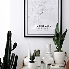 Map poster of Hudiksvall, Sweden. Print size 50 x 70 cm. Custom black and white map posters online. Mapiful.com