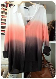 Coral Ombre Button Down.....color scheme for apt living room????