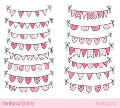 Valentine bunting clipart, Love bunting clip art, Cute hand drawn doodle heart bunting clipart, Pennant banner clip art baby shower pink #artsandcraftsclipart,