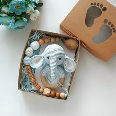 Mom to be gift box, Personalized baby toy, Elephant rattle Elephant baby shower gift set, Safari animal rattle. Co-worker baby gift. Cotton Elephant, wooden dummy clip and teething bracelet Jungle Pattern, Baby Shower Themes, Baby Shower Gifts, Shower Baby, Shower Ideas, Baby Elephant Toy, Diy Bebe, Dummy Clips, Baby Gift Sets